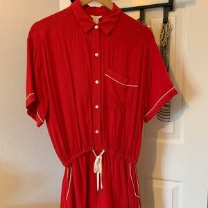 Red Romper with White Piping and Pockets
